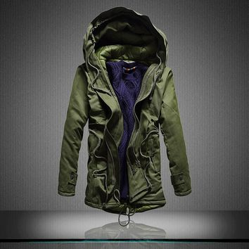 2016 Men's Winter Novelty Style Long Down Jackets  Fashion Male Thick warm Hooded Down & Parkas Outwear Long Coats Size 5XL