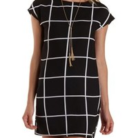 Black/Ivory Windowpane-Checked Shift Dress by Charlotte Russe