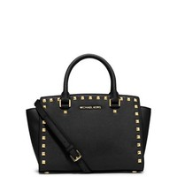 Selma Medium Studded Saffiano Leather Satchel | Michael Kors