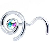 Sterling Silver Swirl Aurora Nose Ring Made with SWAROVSKI ELEMENTS | Body Candy Body Jewelry