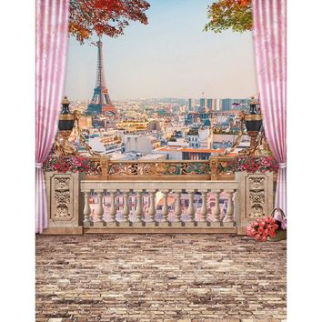 Customize Vinyl Cloth Photography Backdrop Computer Printing Paris Eiffel Tower Curtain Platform Background for Photo Studio