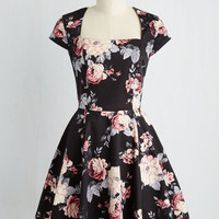 Short Sleeves Fit & Flare Cornerstone of Classy Dress in Black Bouquet