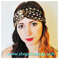 Studded Headband Turban - Leopard Print - Silver of Gold Circular Cone Studs -