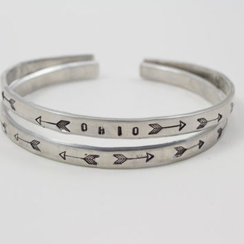Tribal Arrows Silver Aluminum Adjustable Bracelet - Stackable!
