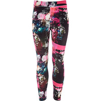River Island Girls black floral velvet leggings