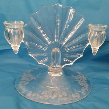 Crystal Glass Candle Holder Shell Fan Morganstown NEAT Radiance New Martinsville