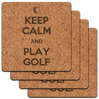 Keep Calm And Play Golf Golfing Low Profile Cork Coaster Set