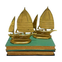 Brass Bookends Sailboats Pair Vintage Nautical Coastal Beach Gold Bookshelf Decor Matching Set