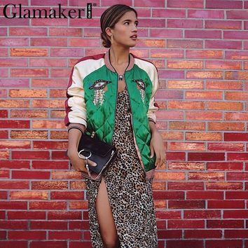 Glamaker Embroidery padded basic jacket Women satin spliced green jacket coats Autumn winter casual streetwear baseball jackets