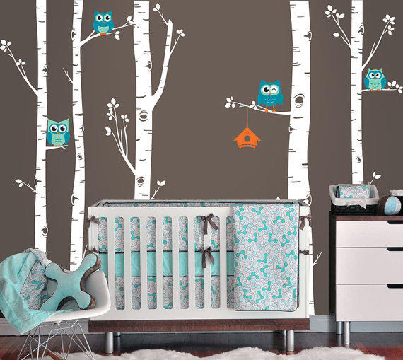 Owls And Birch Tree Forest Wall Decal From Inaninstantart On