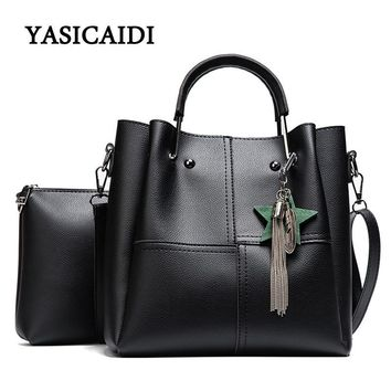 Striped Patchwork Women Shoulder Bags Fashion Pu Leather 2pcsComposite Bag Famous Designer Brand Tassel Female Handbag Sets