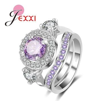 JEXXI Bridal Wedding Finger Jewelry 925 Sterling Silver Cubic Zirconia Purple Rings Set 2 PCS Women Anillo Bijoux