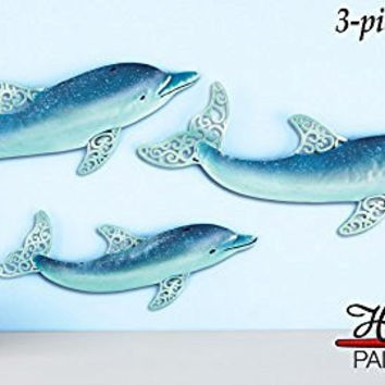 Dolphins Sea Blue Hand Painted Filigree Fins Wall Art Decor Set of 3