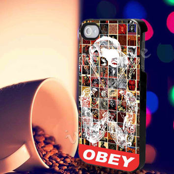 Marilyn monroe obey, gangsta Case For iPhone 4/4S iPhone 5/5S/5C and Samsung Galaxy S3 i9300 S4 i9500 *indomarcase*