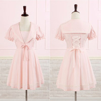 Pink Sailor Bow Chiffon Dress Free Ship SP140984 from SpreePicky
