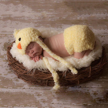 Baby Chick Handcrafted Crochet Newborn Infant Set Photography Props