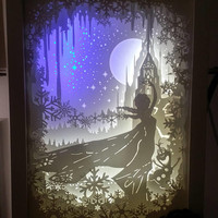 Disney Frozen inspired paper cut light box, 3d dream box, shadow box, papercut lightbox, night light, gift idea, kids nursery room decor