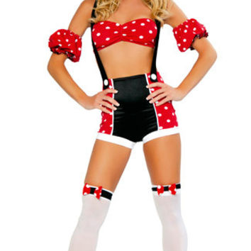 Black and Red Polka Dot Mouse Pinup Costume Set