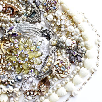 Vintage Broken Jewelry Lot - Brooches, Faux Pearls, Beads, Pins, Earrings / Over 1 Pound White Bridal Findings