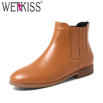 WETKISS Concise Chelsea Ankle Boots Women's Winter Boots Spring Genuine Leather Ladies Shoes Woman Slip On Square Heel Female