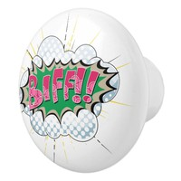 Pop Art Comic Biff! Ceramic Knob