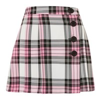 Tartan Checked Button Kilt A-Line Skirt