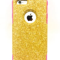 Custom iPhone 6 Plus Glitter Otterbox Commuter Cute Case,  Custom  Glitter  Gold / Pink Otterbox Color Cover for iPhone 6 Plus