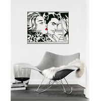 """Pop Art inspired by Roy Lichtenstein """"In the Car"""" removable vinyl wall decal"""