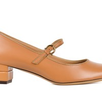Salvatore Ferragamo Womens Tan Brown Leather Mady Buckle Pumps