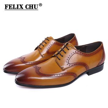 FELIX CHU Brand New Genuine Leather Lace Up Men Wingtip Brogue Shoes Black Yellow Office Party Wedding Suit Formal Footwear