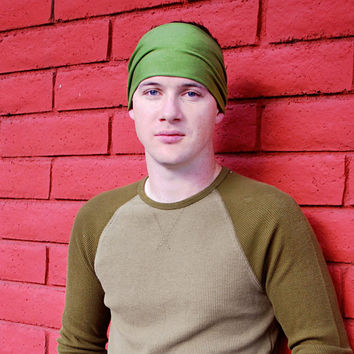Mens Headband, Grass Green Headband Headwrap, Yoga Headband Head Wrap (Item 1004) Small