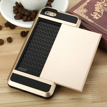 Sliding Card Holder iPhone 7 Wallet Secret ID Slot Rugged Protective iPhone 7 7Plus & iPhone 6s 6 Plus Case  Cover