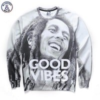 bob marley GOOD VIBES autumn winter thin hoodies 3d sweatshirts Asia size S-XXL