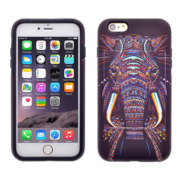 For Apple iPhone 6/6s Plus Dual Layer Credit Card Hybrid Case With Design, ID Holder with Kickstand - Tribal Elephant