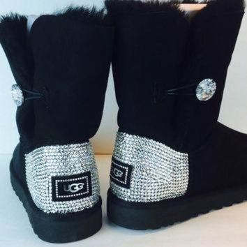 DCCK8X2 Bailey Button Bling Uggs Custom With Swarovski Elements: Free Shipping, Repair Kit, Cl