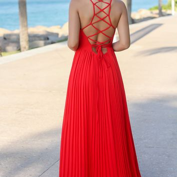 Red Wrap Dress with Strappy Back