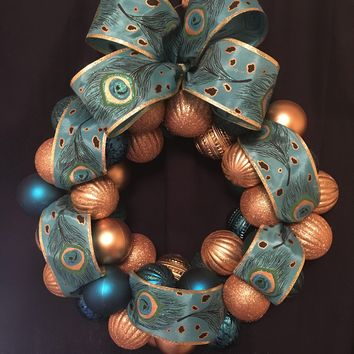 "Beautiful 18 in. ""Pretty Peacock"" Gold, Teal and Peacock Ornament Wreath"