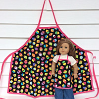 Matching Girl and Doll Aprons, 18 Inch Doll and Girl Apron, Cupcake Aprons for Dolly and Me, Sized for American Girl Dolls