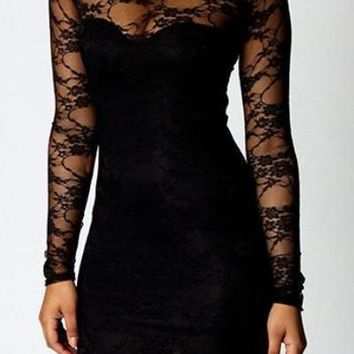 Black Floral Lace Short Length Bodycon Dress