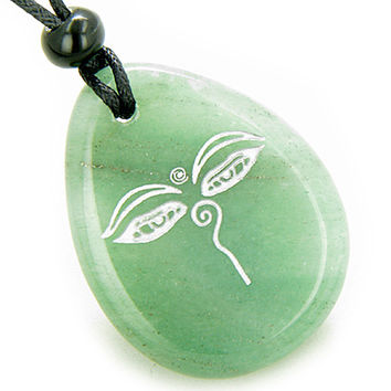 Magic Old Tibetan All Seeing Eye of Buddha Amulet Green Quartz Pendant Necklace