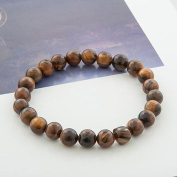 Tiger Eye Buddha Bracelets Natural Stone Lava Round Beads Elasticity Rope Men Women Bracelet