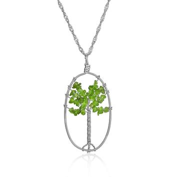Wishing Tree of Life Green Stone Prehnite Oval Wire Pendant Necklace