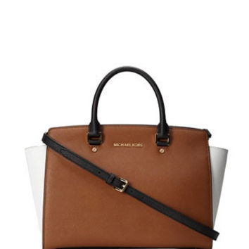 Michael Michael Kors Large Colorblock Selma Zip Satchel