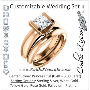 CZ Wedding Set, featuring The Tory engagement ring (Customizable Cathedral-style Bar-set Princess Cut Ring with Prong Accents)