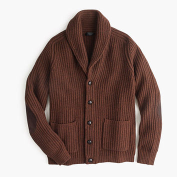 J.Crew Mens Lambswool Ribbed Cardigan Sweater