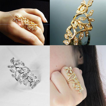 New Arrival Elegant Women Bling Rings Full Gold Silver Crystal Hollow Scroll Armor Joint Knuckle Plated Finger Ring