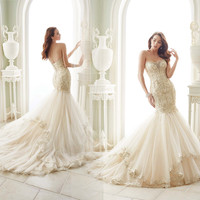 Sexy Romantic Beading Lace Applique Mermaid Wedding Dress 2016 Strapless Vestidos Lace Up Back  Bride Gowns Plus Size