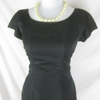 1950s 60s Designer A. Goodman Jerry Parnis Vintage Black Tulip Skirt Cocktail Party Dress W29