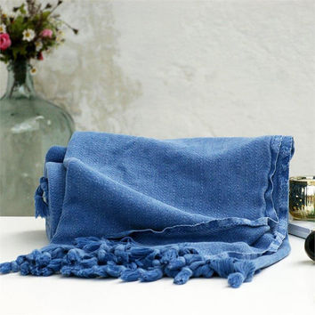 Blue stonewashed blanket,Handwoven blanket,Throw blanket,Bed cover,Sofa throws,Woven blanket,Traditional,Turkish blanket,Sofa throws,Rustic