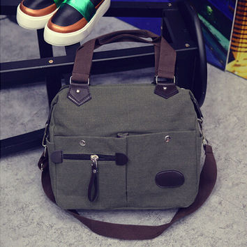 Women Men Bag Neutral Vintage Style Canvas Satchel Shoulder Bags Messenger Crossbody School Military Bag CF
